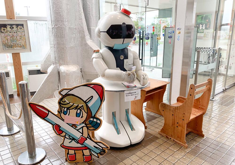 スタンプを押してくれる大きなロボット