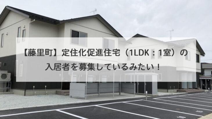 【藤里町】定住化促進住宅(1LDK:1室)の入居者を募集しているみたい!
